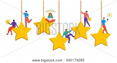 Client Feedback Or Review Concept, Flat Tiny People Sitting On Huge Stars, Happy Customers, Rank And