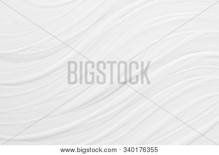 White Liquid Striped Paint Texture With Smooth Diagonal Waves As Simple Abstract Background.