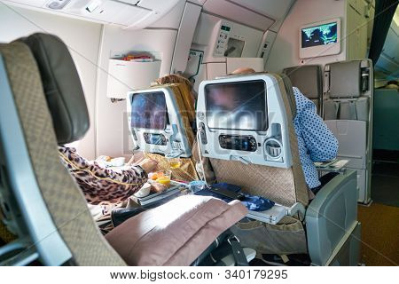 SINGAPORE - CIRCA APRIL, 2019: inside of Singapore Airlines Airlines A350.