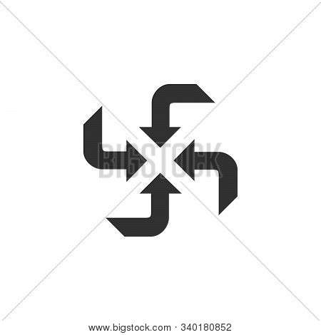 Four Curving Arrows Sweep Inward To Point At The Center , 4 Arrows In 4 Directions. Stock Vector Ill