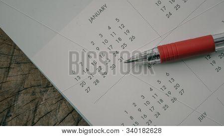 Close Up Calendar In Dark Tone.planning Concept.