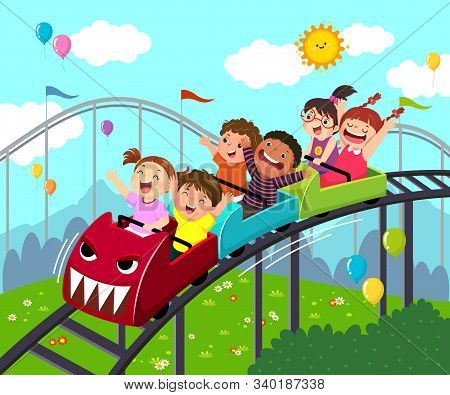 Vector Illustration Cartoon Of Kids Having Fun On Roller Coaster In An Amusement Park.