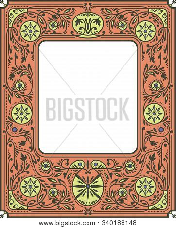 Autumn Border Or Frame With Orange And Yellow Flowers. White Blank Space In The Centre. Book Cover T