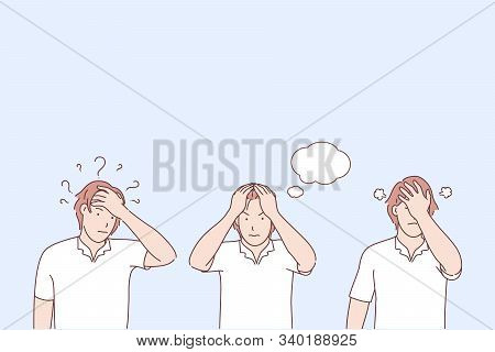 Problem Awareness Stages, Not Finding Solution, Negative Emotions Concept. Question And Thoughts, Br