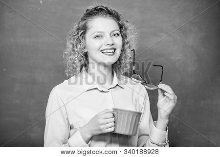 Energy And Vigor. Energy Charge. Good Morning. Girl Refreshing With Tea Drink. School Teacher Need C