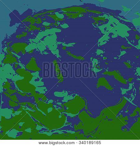 Ebru Style Pattern. Drawing From Green, Emerald, Blue And Dark Blue Shapeless Spots Of Paint. Handwo