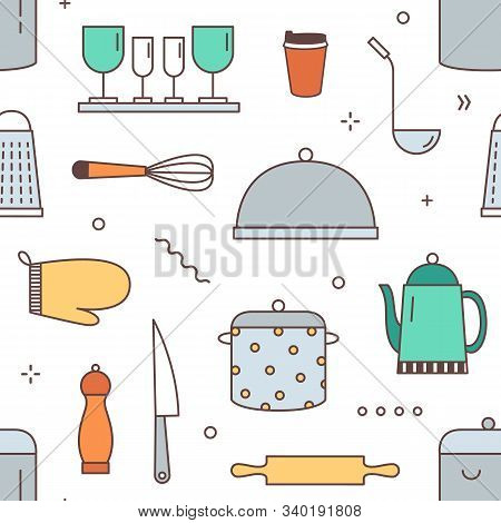 Restaurant Kitchenware Vector Seamless Pattern. Kitchen Equipment, Dinnerware, Tableware Decorative
