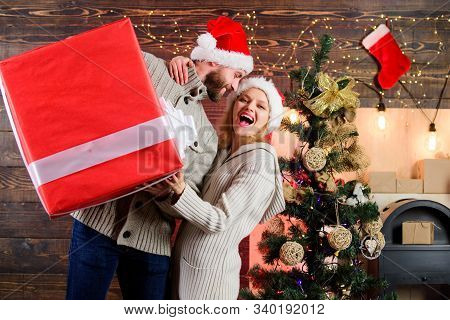 Giving Happiness. Generous Giver. Preparing Presents For Christmas. Winter Happiness. Happy And Sati