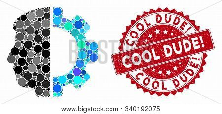 Mosaic Android Head And Rubber Stamp Seal With Cool Dude Question Phrase. Mosaic Vector Is Formed Wi