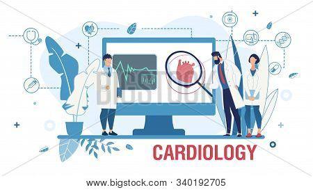 Medical Poster Promoting Online Cardiological Service. Cardiology, Medicine And Internal Organs Heal