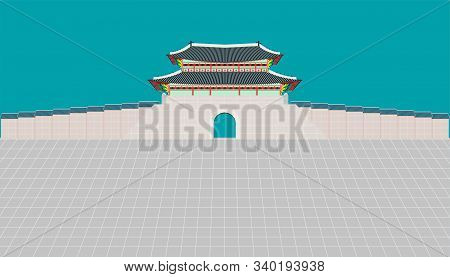 Sungnyemun Gate And Long Wall And Large Courtyard At Changedoekgung Palace In Seoul South Korea Vect