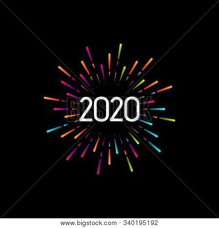 Happy New 2020 Year. Holiday Vector Illustration With Festive Typographic Composition. New Year 2020