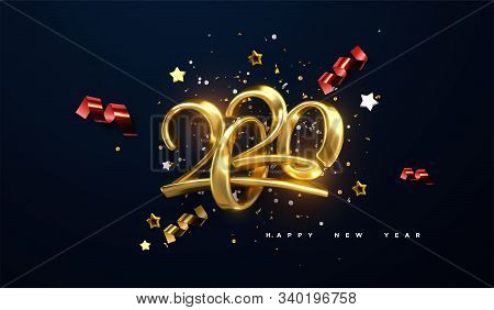 Jewelry 2020 Numbers. Happy New 2020 Year. Holiday Vector Illustration Of Golden Calligraphic Charac