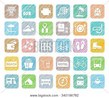 Travel, Vacation, Tourism, Vacation, Icons, Pencil Shading, Colored, Vector. Different Types Of Holi