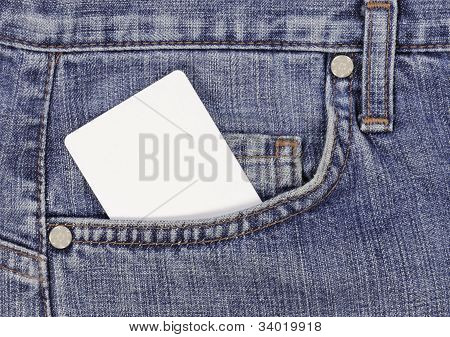 Closeup of credit card in blue jeans pocket