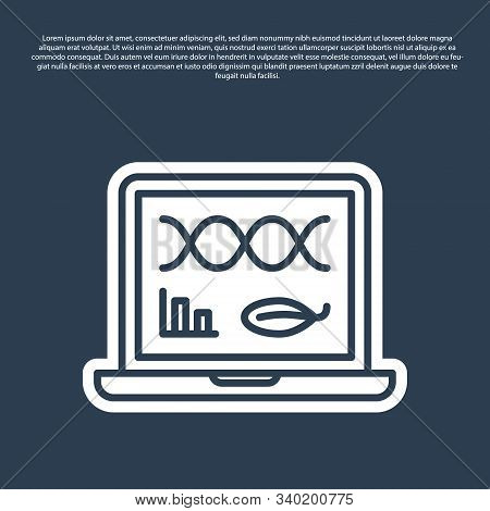 Blue line Genetic engineering modification on laptop icon isolated on blue background. DNA analysis, genetics testing, cloning. Vector Illustration poster