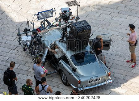 Matera, Italy - September 15, 2019: Bond 25, Aston Martin Db5 Equipped With All Equipment For Shooti