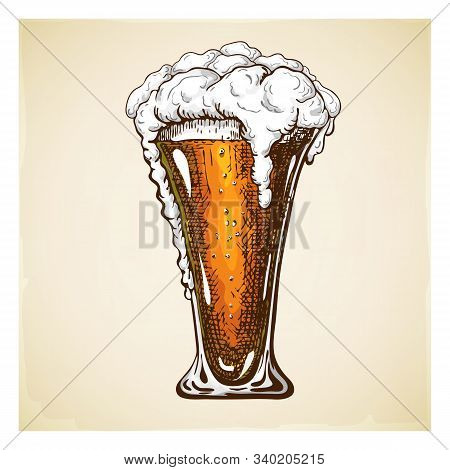 Vector Hand Drawn Beer Glass Full Of Dark Beer With Liquid Foam. Beautiful Vintage Engraved Beer Mug