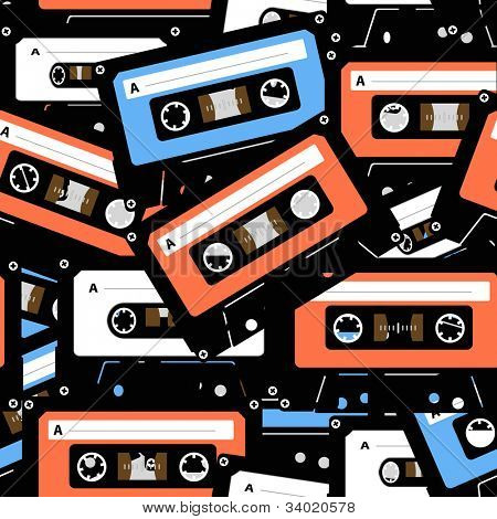 Vintage analogue music recordable cassettes. seamless background