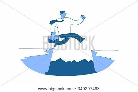 Businessman In White Shirt Jumping Over The Abyss As He Runs To His Goals. Overcoming The Obstacles.
