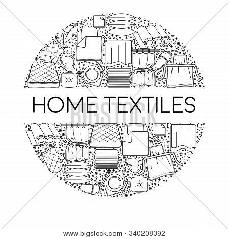 Home Textiles Items Icons Collection Set In Circle With Text