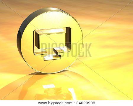 3D Computer Gold Sign