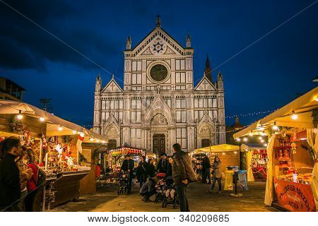 Florence, Italy - December 17, 2019: View Of The Biggest And Traditional Christmas Market In Florenc