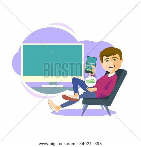 Vector Illustration. Happy Man Sitting In A Chair With A Smartphone. On The Background Of The Monito