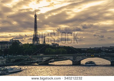 View On Eiffel Tower In Paris In Sunset. Sunset In Paris. Stunning Eiffel Tower In Paris. Vacation I