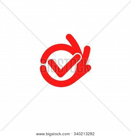 Vector Isolated Unusual Logo. Good Job. All Perfectly. All Ok. Well Done. Fingers Hands Shows Ok. Gr