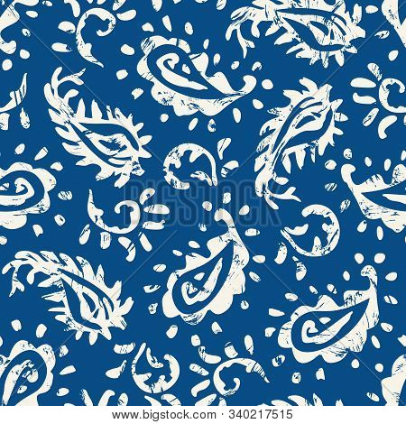 Traditional Textured Hand Painted Classic Blue Paisley Vector Seamless Pattern. Color Of The Year Cl