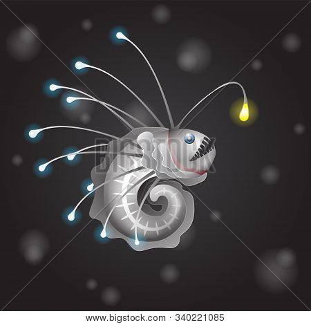 Deep Sea Angler Fish On Black Isolated Background. Vector Image Eps 10