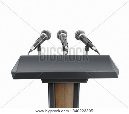 3d Illustration. Image Of Podium Lectern With Microphones