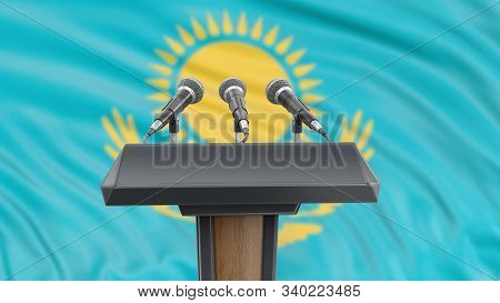 3d Illustration. Podium Lectern With Microphones And Kazakh Flag In Background