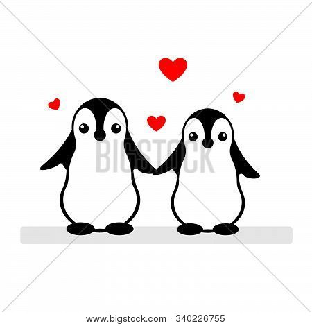 Isolated Vector Penguin Logo. Designed Animals Icon. Cartoon Illustration. Winter Signs. Black, Whit