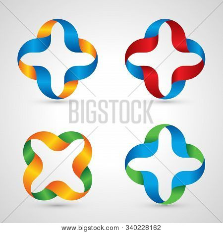 Vector Medic Logo. Medical Cross. Colorful Med Logos Collection. Unusual Plus Symbol From Ribbons.