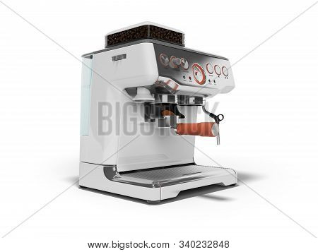 3d Rendering Metal Home Coffee Machine With Water Tank On White Background With Shadow