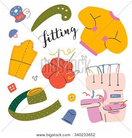 Tools For Sewing And Dressmaking, Sewing Overlock Machine, Pattern, Needle Cushion, Thimble And Bobb