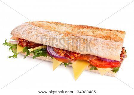 long white wheat baguette sandwich