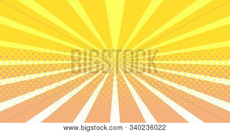 Vintage Colorful Comic Book Background. Orange Blank Bubbles Of Different Shapes. Rays, Radial, Half