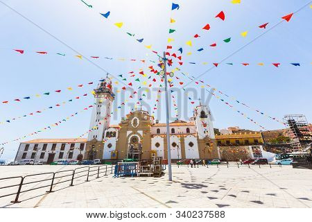 Garlands On Square, Basilica And Royal Marian Shrine Of Our Lady Of Candelaria