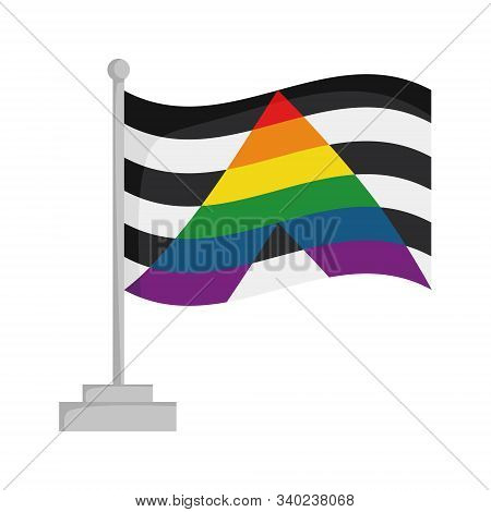 Straight Ally Pride Flag Isolated On White Background Vector Illustration