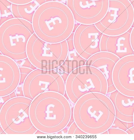 British Pound Copper Coins Seamless Pattern. Enchanting Scattered Pink Gbp Coins. Success Concept. U
