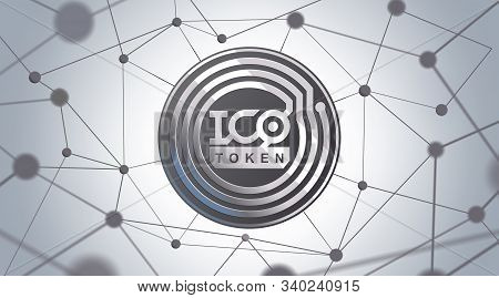 Ico - Initial Coin Offering. Ico Token Concept. Silver Token On 3d Virtual Graphical User Interface.