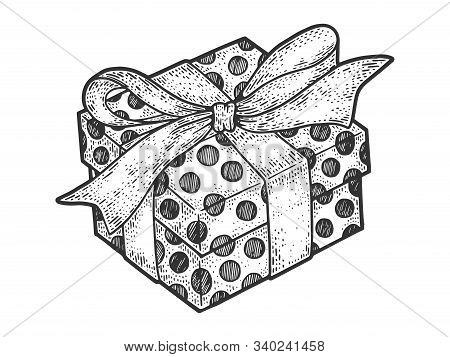 Gift Box With Ribbons And Bow For Christmas Or Birthday Sketch Engraving Vector Illustration. T-shir
