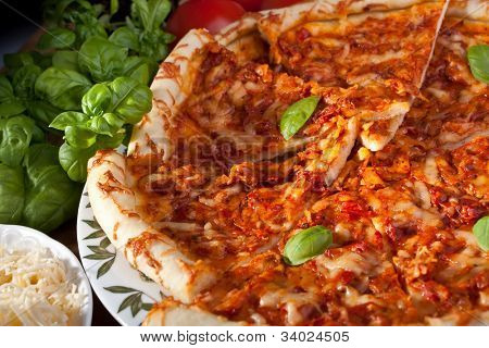 sliced cheese margerita pizza