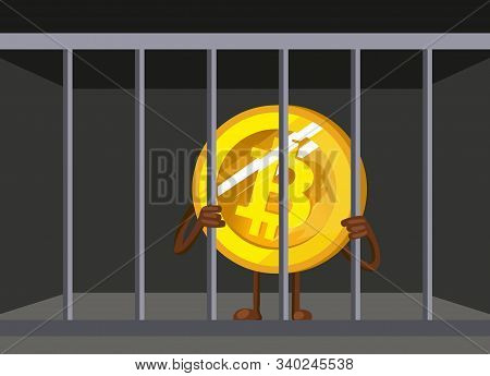 Bitcoin Ban. Btc Illegal. Cartoon Bitcoin In Prison Vector Illustration. Funny Bitcoin. Prohibition