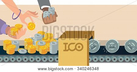 Initial Coin Offering, Ico Token Production Process Vector Illustration. Token Sales In Exchange For