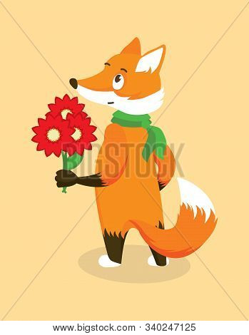 Anthropomorphic Red Fox In A Green Scarf With A Bouquet Of Red Flowers. Isolated Character On Orange