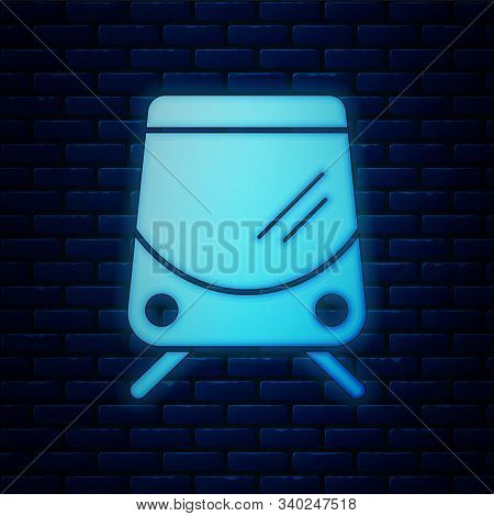 Glowing Neon Tram And Railway Icon Isolated On Brick Wall Background. Public Transportation Symbol.